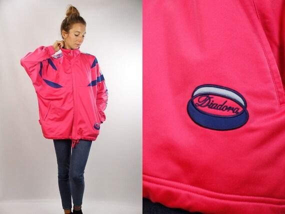 Diadora Track Jacket / Vintage Shell Jacket / Vintage Track Jacket / Vintage Windbreaker / Pink Track Jacket / Pink Windbreaker / Diadora