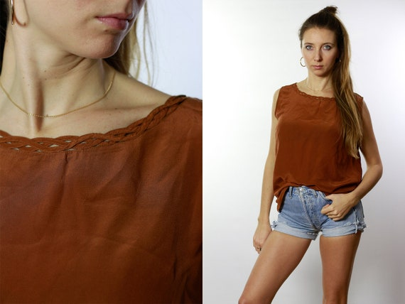 Silk Blouse Brown / Silk Blouse / Silk Shirt Red / Vintage Silk Blouse / Retro Silk Blouse / Cropped  Blouse / Cropped Shirt HE41