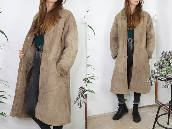Shearling Jacket Sheepskin Beige Sherpa Jacket She