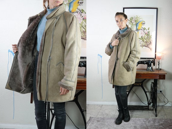 Shearling Jacket Shearling Coat Sheepskin Jacket Sheepskin Coat Grey Sherpa Coat Sherpa Jacket Grey Sheepskin Coat Vintage Clothing SH24