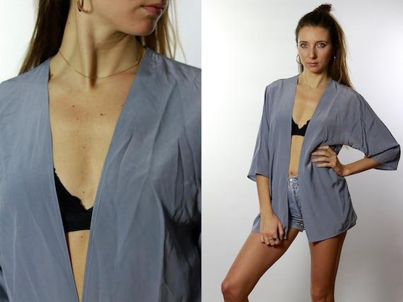 Summer blouse Silk Shirt Vintage 80's Shirt Womens Shirt Vintage Shirts Womens Shirt Vintage Clothing Loose Shirt Baby Blue Shirt  HE39
