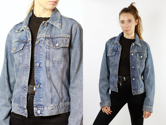 Denim Jacket Vintage Clothing  Jean Jacket 80s Denim Jacket 80s Jean Jacket Benetton Jacket Oversize Denim Jacket Womens Jacket XS DJ100