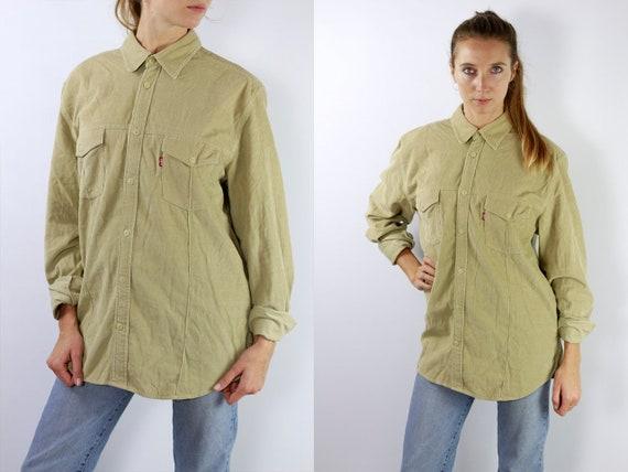 LEVIS Denim Shirt Levis Jean Shirt Levis Shirt Beige Shirt Levis Vintage Levis Corduroy Shirt Levis Jean Shirt Corduroy Shirt Vintage HE4