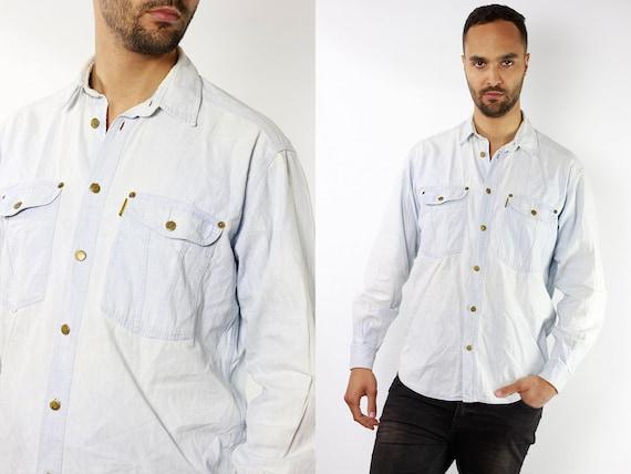 Vintage Denim Shirt Vintage Jean Shirt Mens Shirt Blue Shirt Vintage Jeans Shirt Button Shirt Armani Shirt Mens Shirt Vintage Clothing HE86