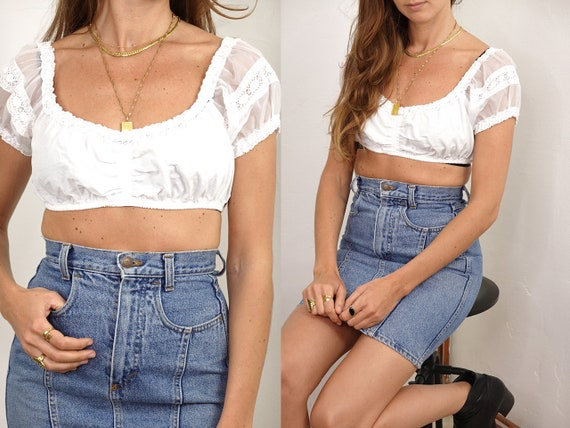 Womens Shirt Lace Crop Top White Festival Top Crop Top White festival hippy top boho hippie top summer blouse Vintage Clothing He193