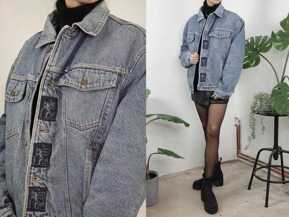 Denim Jacket Sherpa Vintage Jean Jacket Blue Denim Jacket Padded Denim Jacket Lined Warm Denim jacket Second Hand Vintage Clothing SHJ3