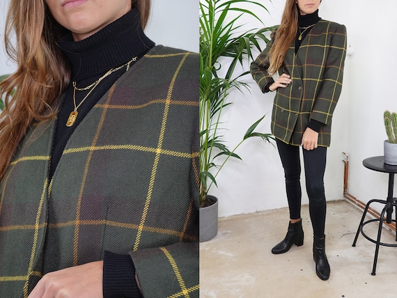 Checked tweed blazer Wool bouclé Blazer Oversize Green Blogger Tweed Wool Coat Checked Jacket Womens Clothing Vintage Second Hand BL3