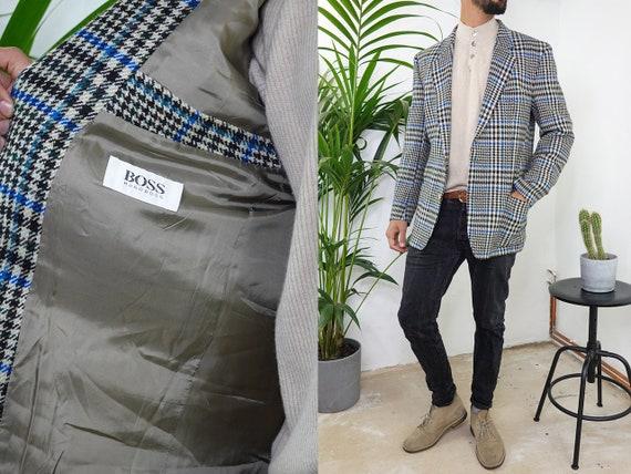 HUGO BOSS Blazer Vintage Hugo Boss Jacket Vintage Blazer Wool Blazer Designer Jacket Large Mens Clothing Vintage Clothing Second Hand BL6