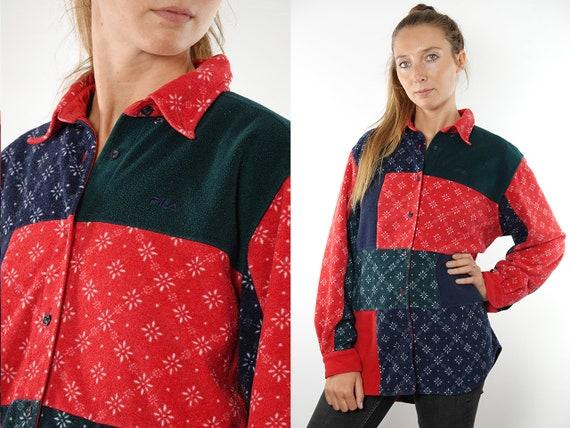 Fila Jumper Fila Sweater 90s Fleece Jumper 1/4 Zip Jumpe Vintage Jumper Vintage Sweatshirt Fleece Sweatshirt Red Vintage Clothing SW139
