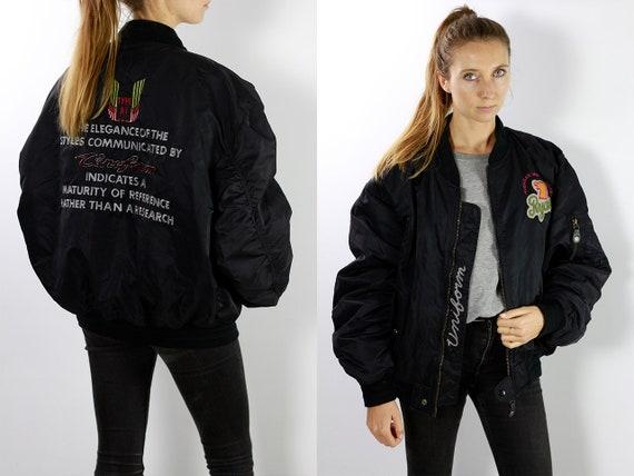 Patched Bomber Jacket / Bomber Jacket Patches / Vintage Bomber Jacket / Black Bomber Jacket / Balloon Jacket Vintage Jacket JA42