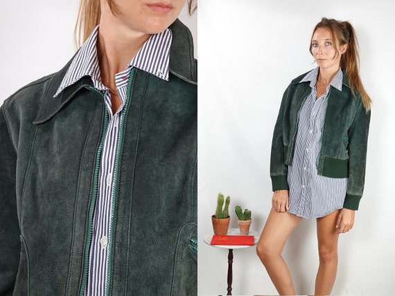 Suede Jacket Green Suede Suede Bomber Jacket Vintage Suede Soft Leather Jacket Oversize Jacket Vintage Clothing 80s Suede Jacket SUJ91