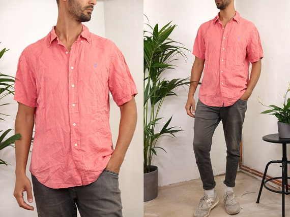 RALPH LAUREN Shirt Ralph Lauren Button Up Pink Shirt Mens Shirt Red Ralph Lauren Vintage Shirt Oxford Shirt Polo Ralph Lauren HE209