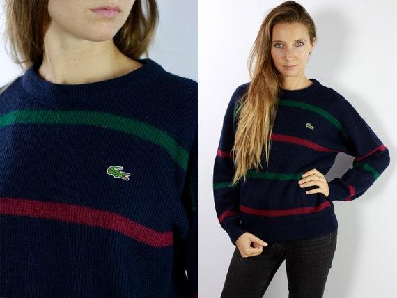 LACOSTE Jumper  Sweater Lacoste Blue Lacoste Sweatshirt 90s Striped Sweater Lacoste  Vintage  Lacoste Men Vintage Lacoste  Blue P41