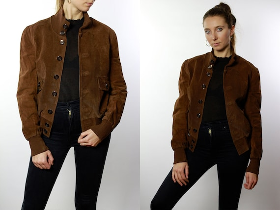 Suede Bomber Jacket Brown Bomber Jacket Suede Bomber Vintage Suede Jacket Vintage Brown Suede Jacket  Soft Suede Jacket Small Size SUJ41
