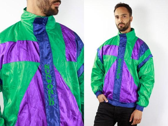 Vintage Windbreaker Vintage Track Jacket Retro Windbreaker Green Vintage Jacket Vintage 90s Windbreaker 90s Track Jacket Retro Tracksuit Top