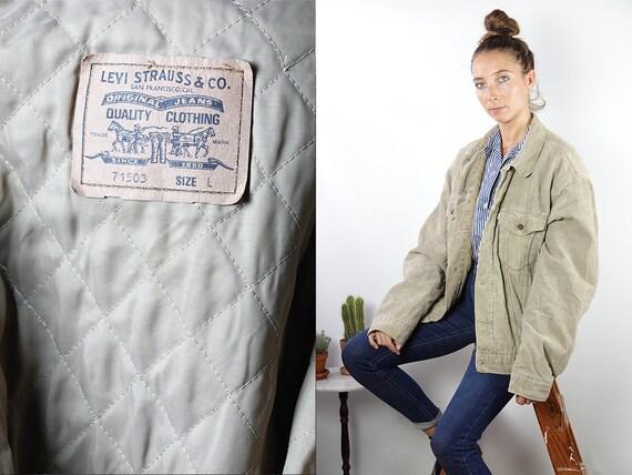 LEVIS Corduroy Jacket Levis Corduroy Coat Corduroy Sherpa Vintage Denim Jacket  Corduroy Jacket Beige Oversize Jacket Vintage Clothing KJ6