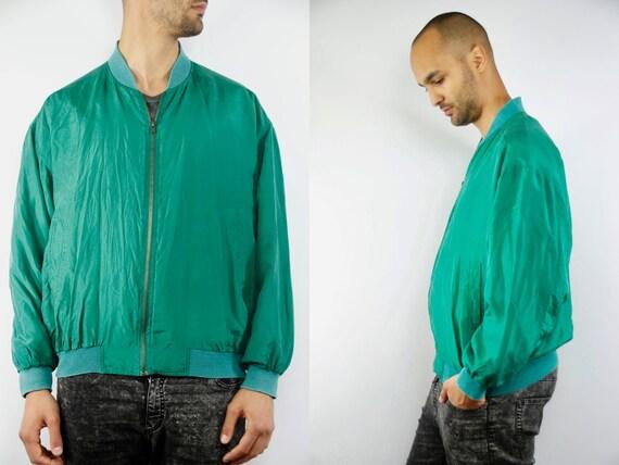 Silk Balloon Jacket / Bomber Jacket / Green Bomber Jacket / Balloon Jacket Green / Grunge Bomber Jacket / Silk Bomber / Green Silk Jacket