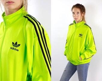 ADIDAS Windbreaker Green Adidas Track Jacket Adidas Jacket Neon Vintage Windbreaker Vintage Tracksuit Windbreaker Track Jacket Shell Jacket