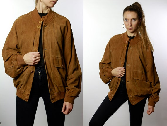 Vintage Suede Jacket Vintage Suede Bomber Suede Bomber Jacket Brown Suede Jacket Brown Bomber Jacket Soft Suede Jacket Large SUJ36