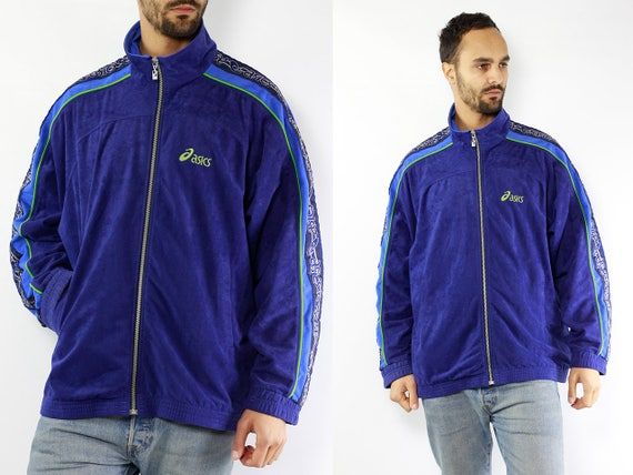 90s Windbreaker Vintage Windbreaker Oversize Windbreaker Streetwear Asics Windbreaker Asics Jacket Windbreaker Men Blue Windbreaker men