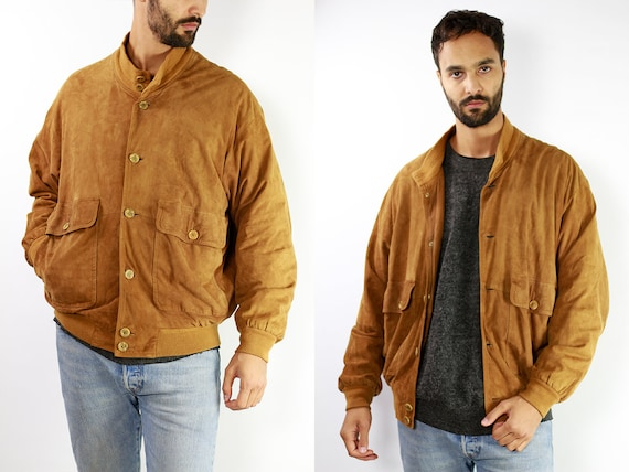 Vintage Suede Jacket Vintage Suede Bomber Suede Bomber Jacket Brown Suede Jacket Brown Bomber Jacket Soft Suede Jacket Large Suede SUJ3