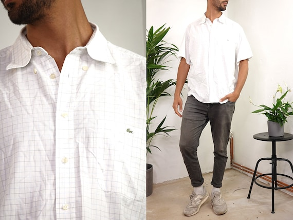 LACOSTE Shirt White Lacoste Button Shirt White Lacoste Vintage Oxford Shirt Lacoste Shirt Checked Lacoste Shirt Short Sleeved HE212