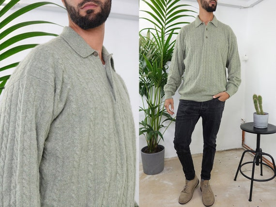 Cashmere Sweater Cashmere Jumper Wool Jumper Wool Sweater Green Oversize Jumper Knot Pattern Sweater Vintage Clothing Second Hand WP206