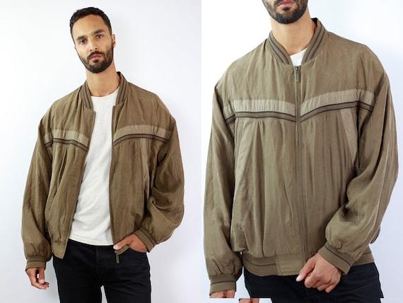 Silk Bomber Jacket Silk Balloon Jacket Silk Jacket Silk Bomber Silk Bomber Beige Silk Jacket Beige Bomber Jacket 90s Bomber jacket