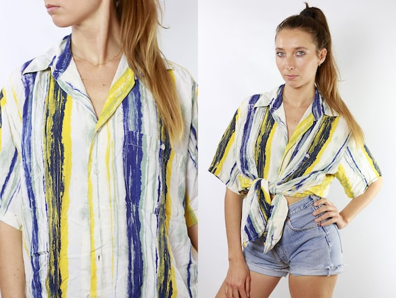 Oversized Shirt Summer Blouse 80s Retro Shirt Striped shirt Vintage Tshirt Women Shirt Vintage Shirts Womens Blouse Cropped Shirt HE100