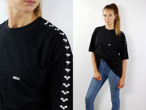Arena T-Shirt Taped T-Shirt Arena T-Shirt Vintage T-Shirt 90s Vintage Arena T-Shirt Black Vintage T-Shirt 90s Arena Black T-Shirt Arena 90s