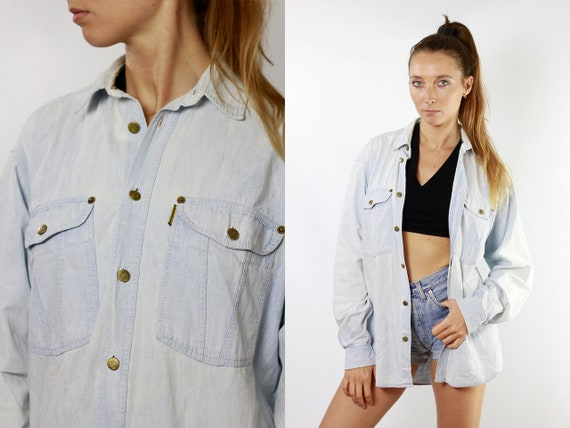 Vintage Denim Shirt Vintage Jean Shirt Womens Shirt Blue Shirt Vintage Jeans Shirt Button Shirt Armani Shirt  Vintage Clothing HE86