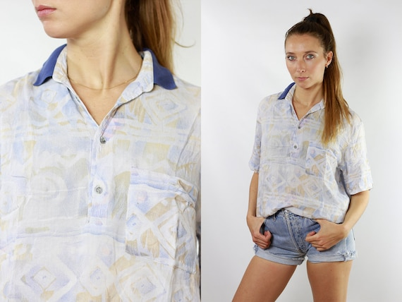 80s Retro Shirt Tribal Tshirt Vintage Tshirt Oversized Shirt Women Shirt Vintage Shirts Summer Blouse Womens Blouse  Geometric Shirt HE87