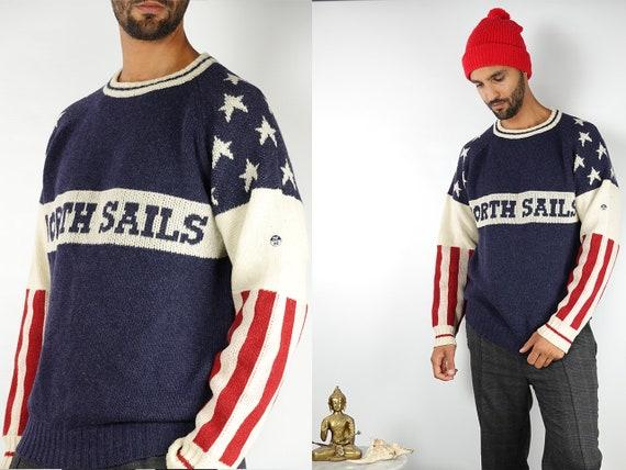 Vintage Wool Jumper Vintage Wool Sweater Blue Wool Jumper Blue Wool Sweater American Flag Jumper American Flag Sweater Vintage Clothing WP78