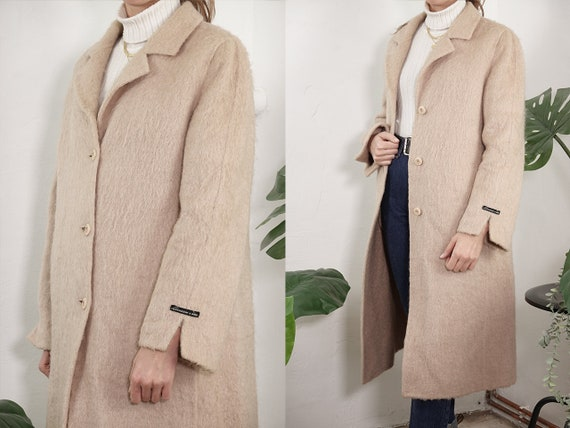 Vintage Coat Vintage Wool Coat White Vintage Coat White Camel Hair Coat Winter Coat Warm Vintage Clothing Second Hand Womens Coat CO204