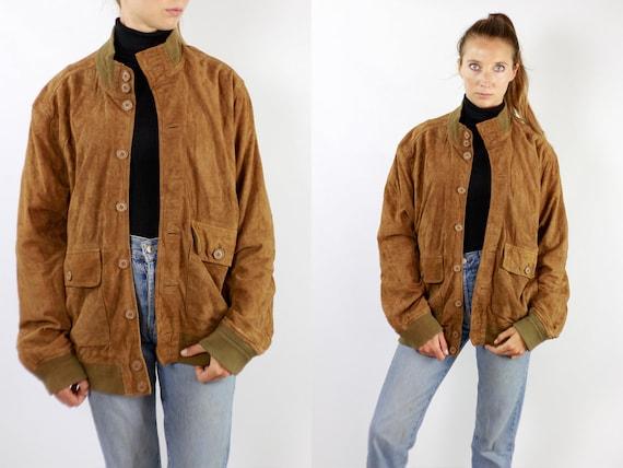 Vintage Suede Jacket Vintage Suede Bomber Suede Bomber Jacket Brown Suede Jacket Brown Bomber Jacket Soft Suede Jacket Large Suede WLJ78