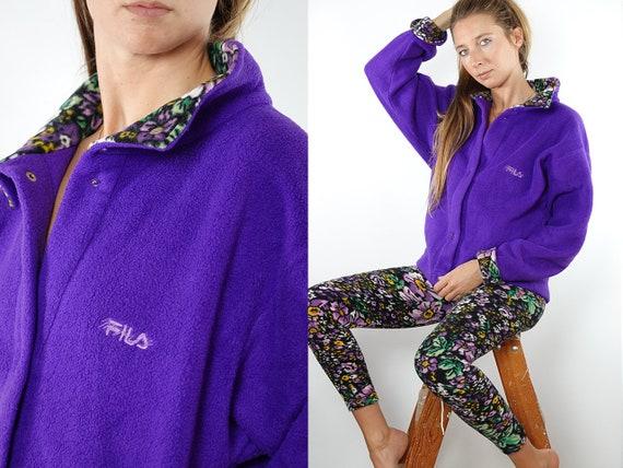 Fila Jumper Fila Sweater 90s Fleece Jumper 1/4 Zip Jumpe Vintage Jumper Vintage Sweatshirt Fleece Sweatshirt Purple Vintage Clothing SW133