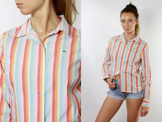 LACOSTE Shirt Lacoste Button Down Shirt Striped Shirt Vintage Button Down 90s Shirt Women Vintage Clothing Retro Shirt HE121