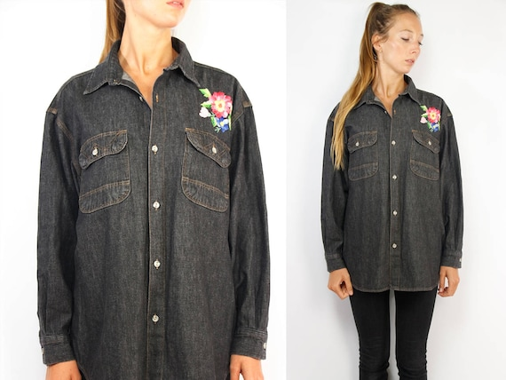 Patched Denim Shirt / Wrangler Denim Shirt / Button up / Denim Shirt Wrangler / Denim Shirt Vintage / Denim Vintage Shirt / Patched Denim