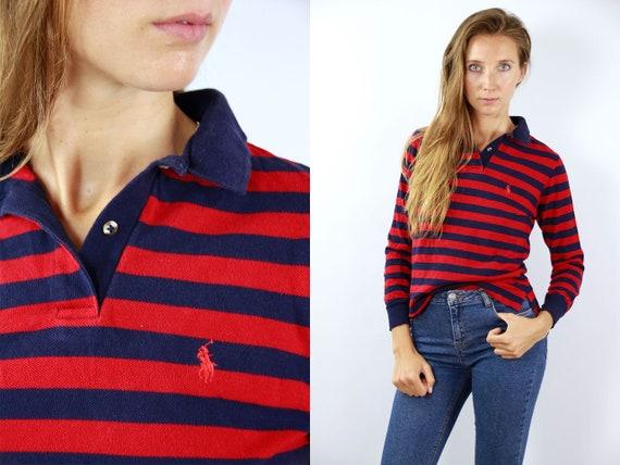 Ralph Lauren Poloshirt Vintage Polo Shirt Ralph Lauren T Shirt Striped Polo Shirt Longsleeve Poloshirt 90s Poloshirt Polo Shirt Longsleeve