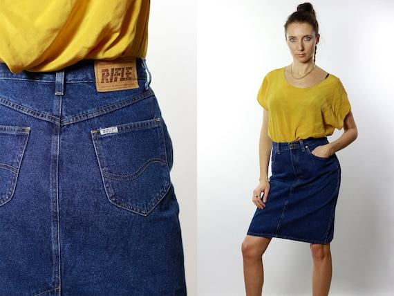 Denim SKIRT High Waist  / Vintage Denim Skirt / Denim Skirt  Vintage / 80s Skirt / Pencil Skirt / Denim Mini Skirt Jean Skirt High Waist R6