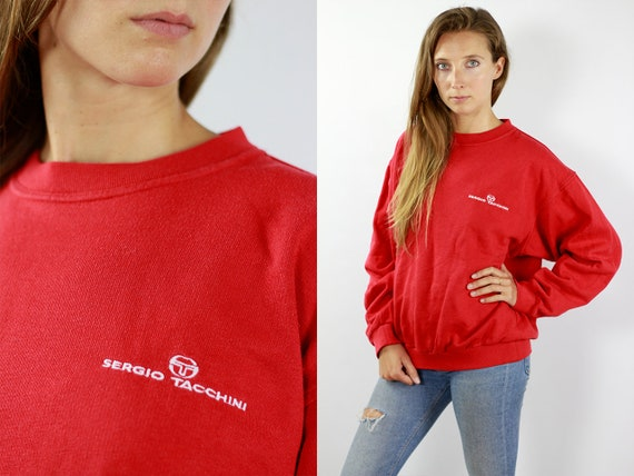 Sergio Tacchini Sweater Sweatshirt Sergio Tacchini Jumper Red Sweater 90s Vintage Sweat Shirt Long Sleeve Sergio Tacchini Jumper Red 90s Top