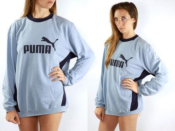 PUMA Sweatshirt Puma Sweater Puma Jumper Puma Vintage Sweater Vintage Puma Sweat Shirt Blue Sweatshirt Puma Jumper 90s Puma Sweater Blue