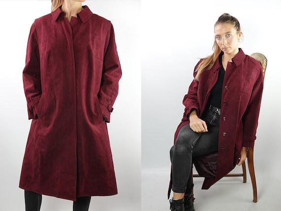 Vintage Coat Vintage Vegan Coat Bordeaux Vintage Coat 80s Coat Winter Coat Warm Vintage Clothing  Womens Coat Small Fake leather Coat CO132