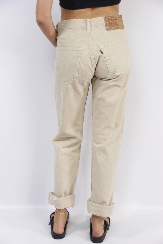 super popular buy sale lowest price Levis 501 Jeans / Levis Jeans Beige / Levis High Waist / High ...