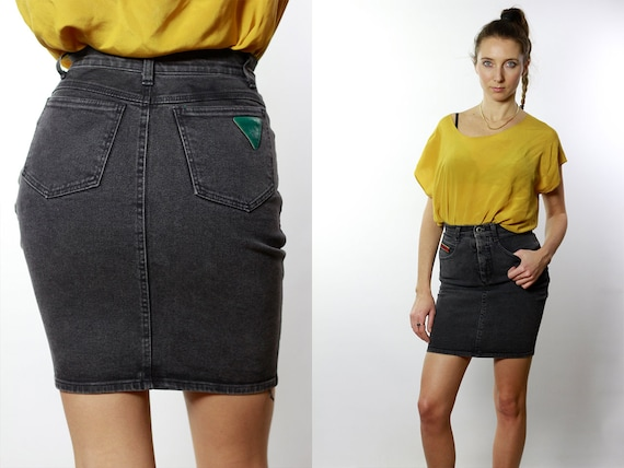 Denim SKIRT High Waist  / Vintage Denim Skirt / Denim Skirt  Vintage / 80s Skirt / Pencil Skirt / Denim Mini Skirt Jean Skirt High Waist R4