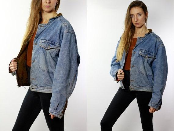 Vintage Denim Jacket Vintage Jean Jacket Blue Denim Jacket Padded Denim Jacket Lined Jean Jacket Grunge Denim Jacket Oversize Jacket DJ39