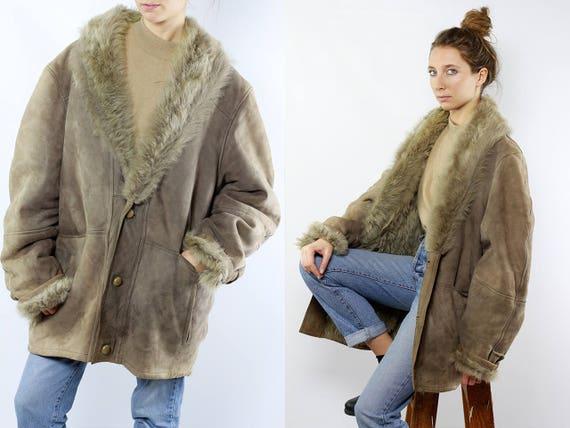 Shearling Jacket / Shearling Coat / Sheepskin Jacket / Sheepskin Coat / Grey Sherpa Coat / Grey Sherpa Jacket / Grey Sheepskin Coat WLM15