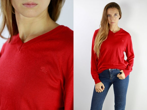 Burberry Sweater / Burberry Jumper / Burberry Wool Jumper / Burberry / Burberry Vintage / Wool Jumper / Wool Sweater Red wool Jumper P9