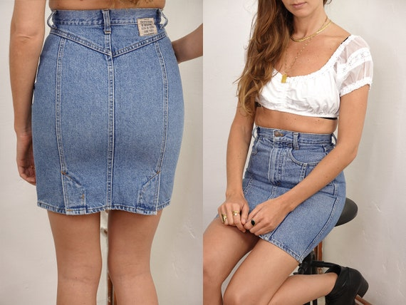 High Waist Skirt Jean Skirt Benetton Denim Skirt Vintage Jean Skirt High Waisted Skirt Benetton Womens Clothing Vintage Clothing R20