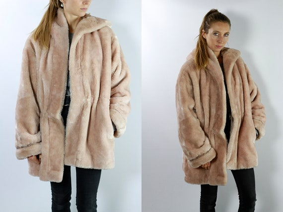 Faux Fur Coats / Vintage Faux Fur Coat / Pink  Coat / Pink Fur Coat / Vintage Fur Coat / Vegan Fur Coat / Faux Fur Coat CO38